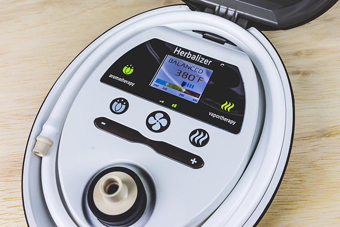 The display screen of the Herbalizer multi-functional vaporizer.