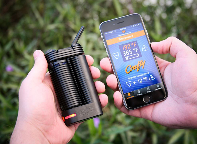 The Crafty portable vaporizer paired with the bluetooth app.
